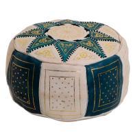 Marokkanische Leder Sitzkissen Nejma Grün