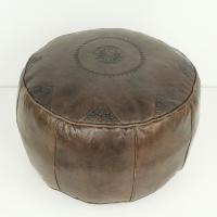 Marokkanisches Leder Sitzkissen Rbati Braun gross