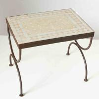 Mosaik-Beistelltisch L50 Weiss/Terracotta