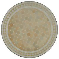 Mosaik Bistrotisch Rund 70 cm Weiss/Raute