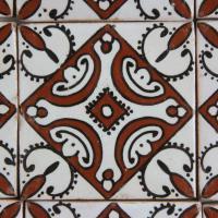 Handbemalte Fliese Ebru Rot