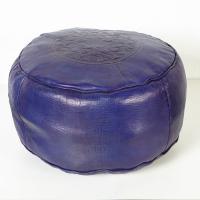Marokkanische Leder Sitzkissen Asli Blau