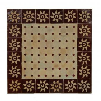 Couch-Mosaiktisch 60x60 Bordeaux-Sonne