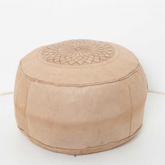 Marokkanische Leder Sitzkissen Asli Beige