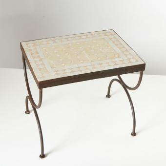 Mosaik-Beistelltisch L39 Weiss/Terracotta