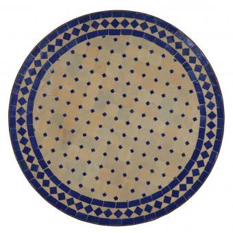 Mosaik Bistrotisch Rund 70 cm Blau/Raute