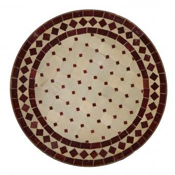 Mosaik-Beistelltisch Ø45 cm Bordeaux-Raute