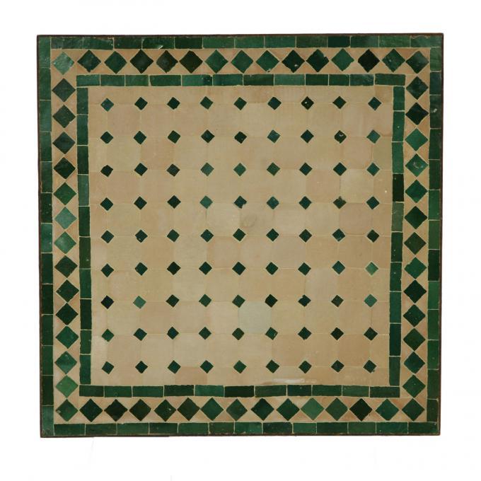 Couch-Mosaiktisch 60x60 Grün-Raute