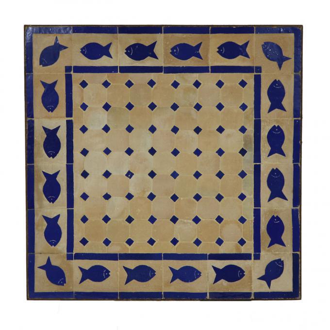 Mosaiktisch 60x60 Fisch-Blau