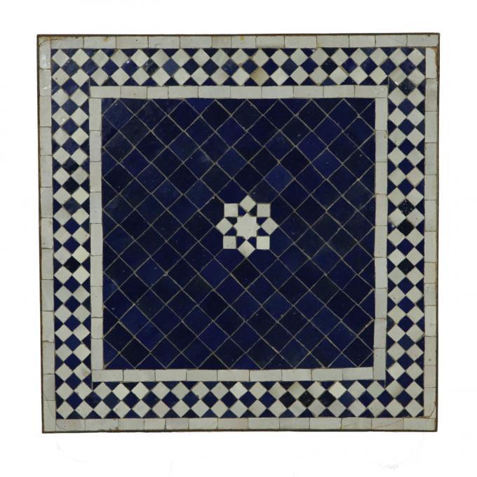 Mosaiktisch 60x60 Stern Blau Weiss