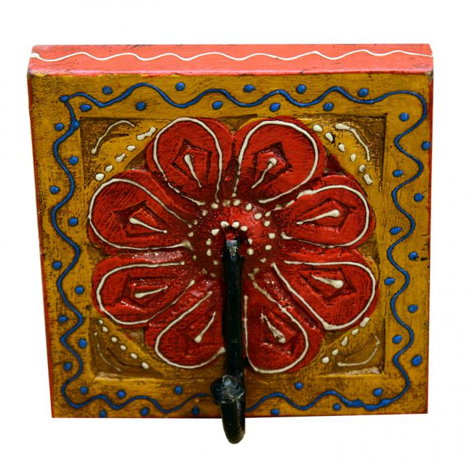 Orientalischer Kleiderhaken Kadira Gelb-Rot