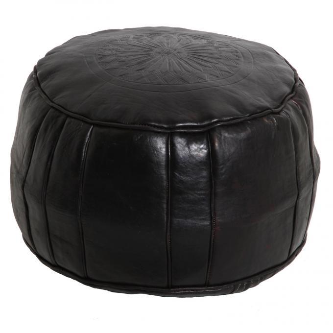marokkanische leder sitzkissen asli schwarz bei ihrem orient shop casa moro. Black Bedroom Furniture Sets. Home Design Ideas