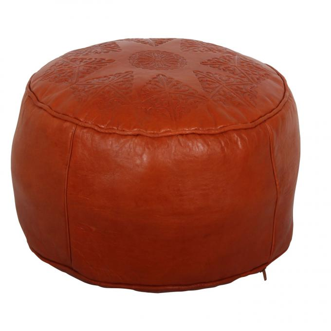 Marokkanisches Leder Sitzkissen Aset Orange Gross
