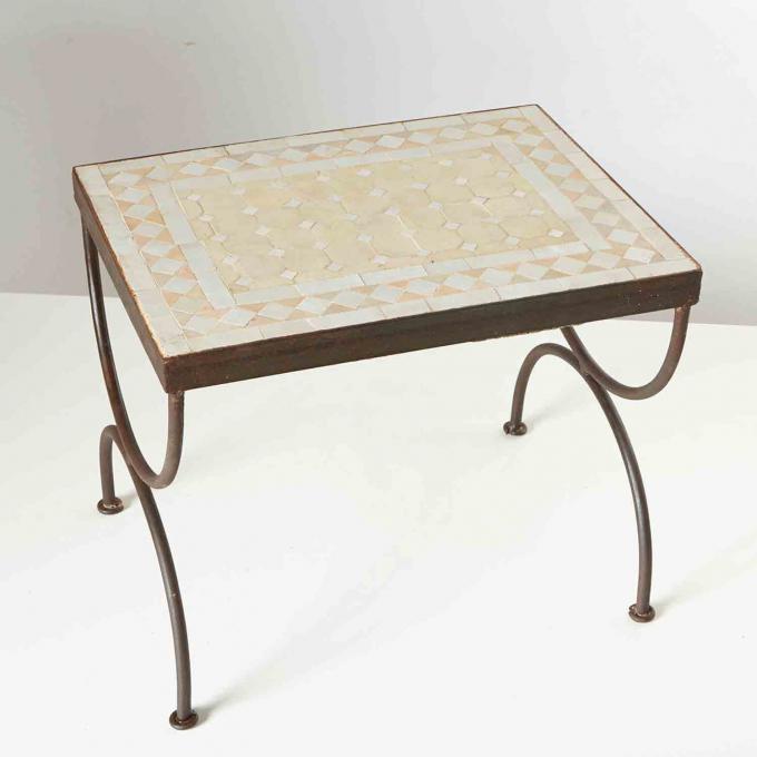 Mosaik-Beistelltisch L44 Weiss/Terracotta