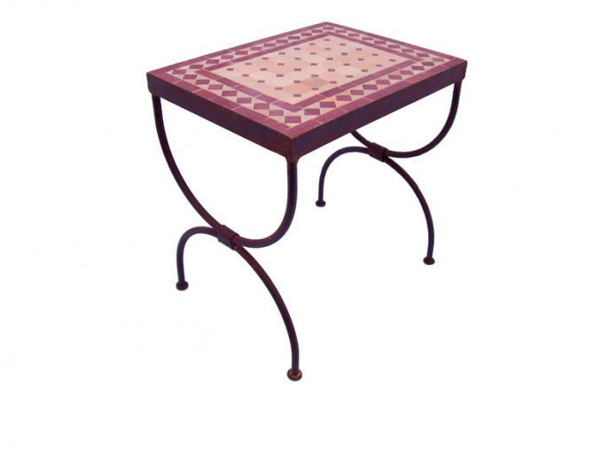 Mosaik-Beistelltisch L39 Bordeaux/Terracotta