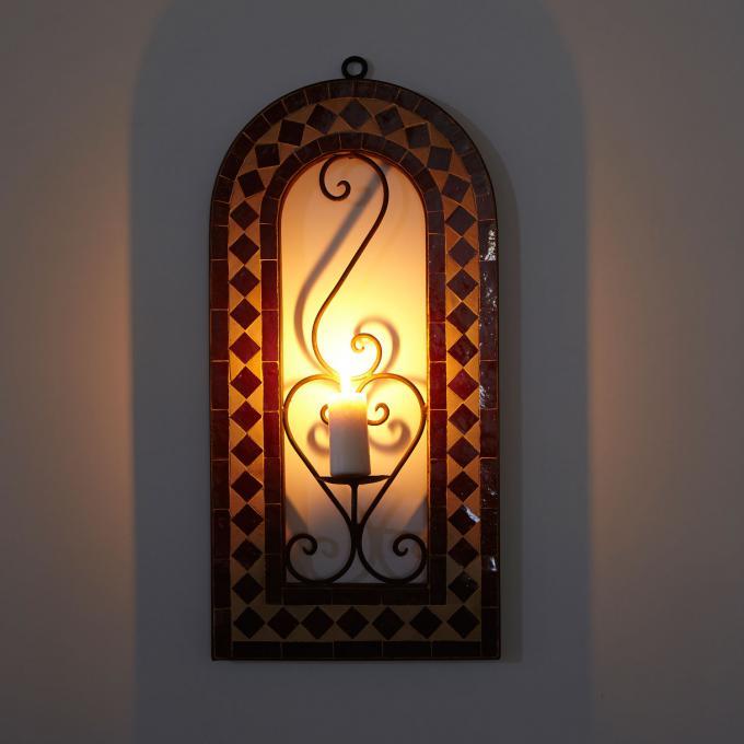 Mosaik - Kerzenleuchter Bordeaux
