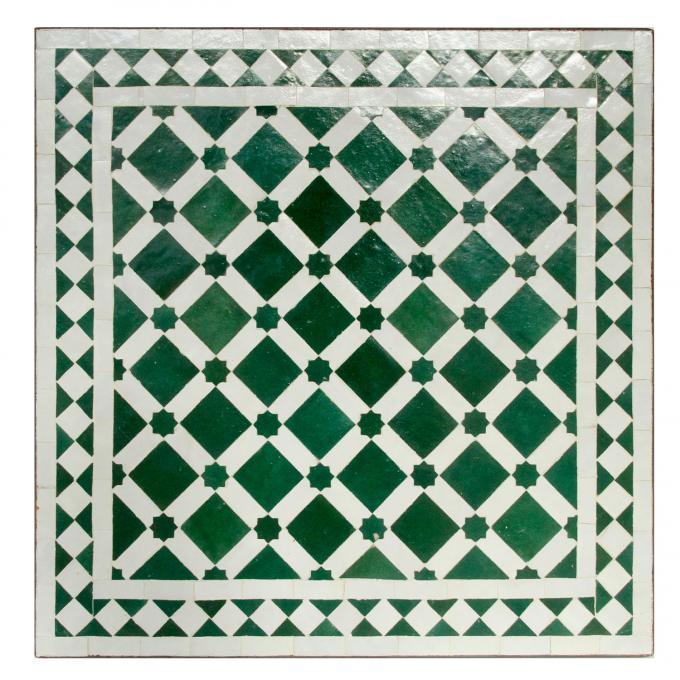 Mosaiktisch 60x60 Grün Weiss Glasiert