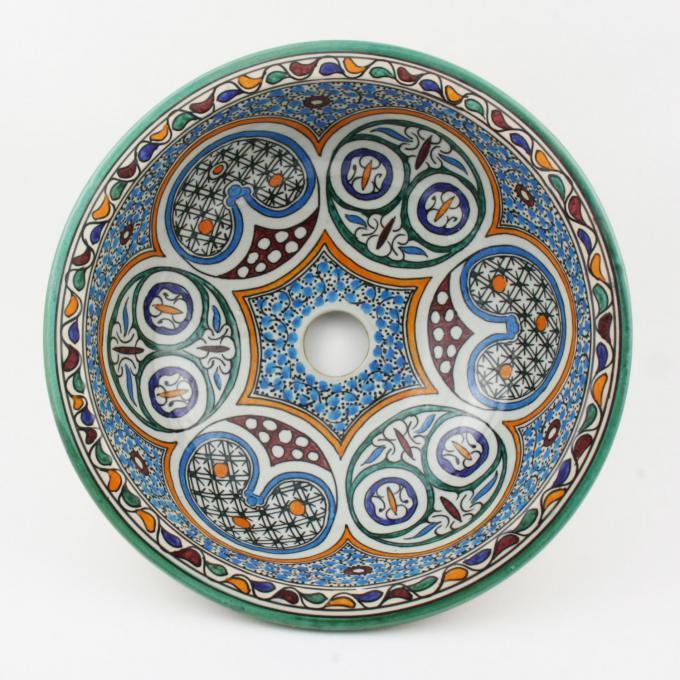 Orientalisches-Handbemaltes-Keramik-Waschbecken Fes30