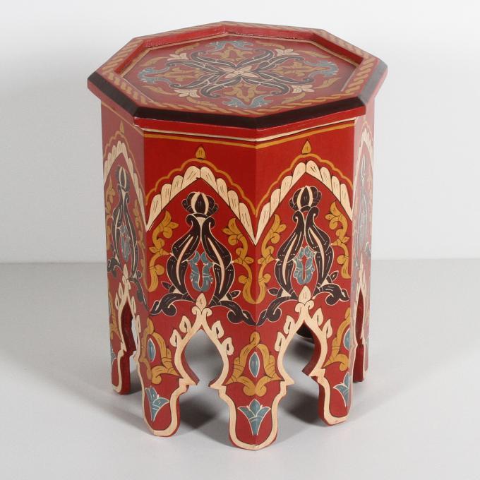 Marokkanischer Holz Beistelltisch Rakia Rot