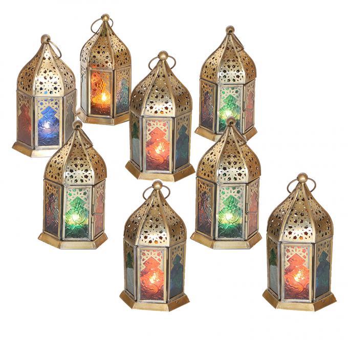 Orientalische Glas-Windlichter Nael Multifarbig 8er Set