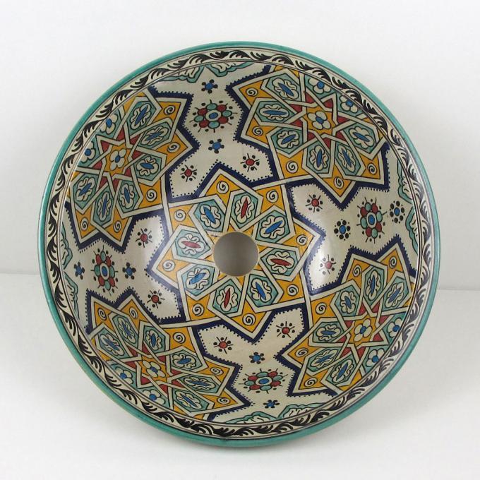 Orientalisches-Handbemaltes-Keramik-Waschbecken Fes16