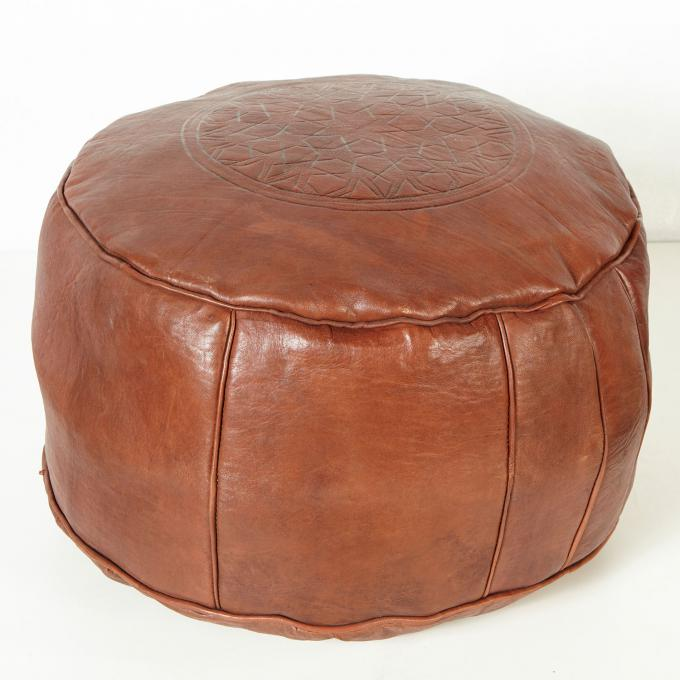 Marokkanisches Leder Sitzkissen Asli braun