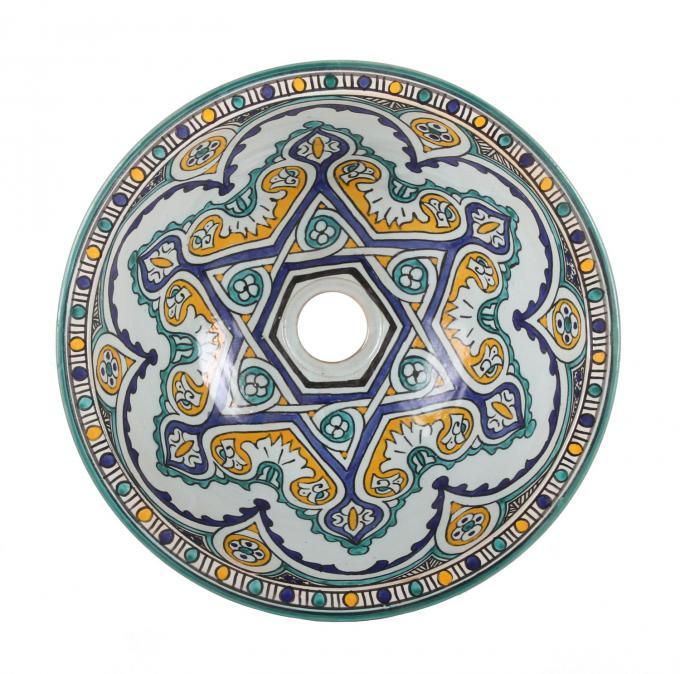 Orientalisches handbemaltes Keramik Waschbecken Fes114