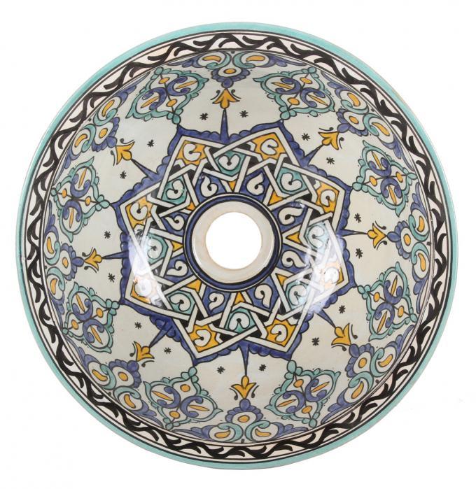 Orientalisches handbemaltes Keramik Waschbecken Fes116