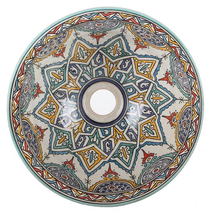 Orientalisches handbemaltes Keramik Waschbecken Fes117
