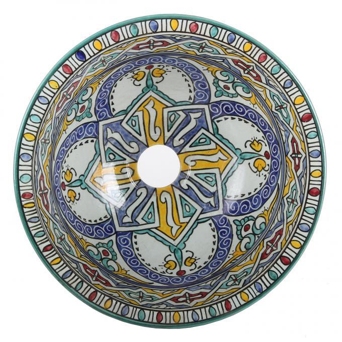 Orientalisches handbemaltes Keramik Waschbecken Fes120