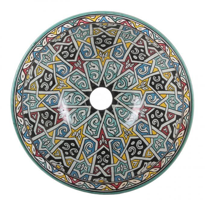 Orientalisches handbemaltes Keramik Waschbecken Fes121