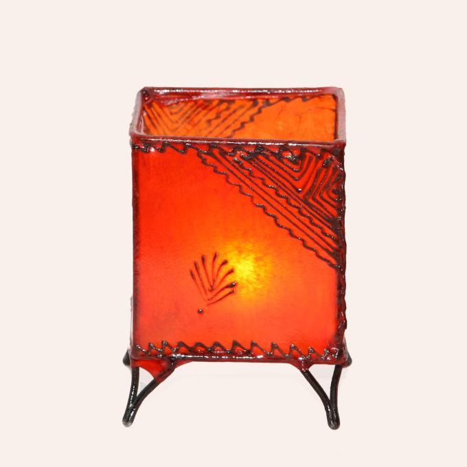 Leder-Windlicht Carre Orange
