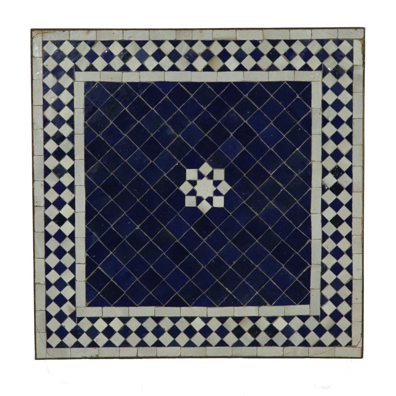 mosaiktisch 60x60 stern blau weiss bei ihrem orient shop casa moro. Black Bedroom Furniture Sets. Home Design Ideas