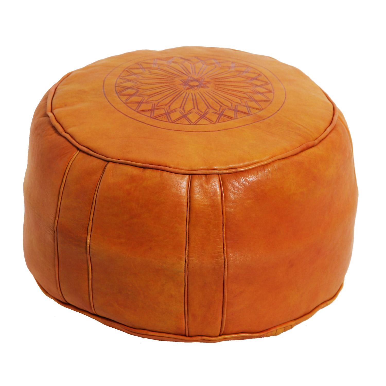 marokkanische leder sitzkissen asli orange bei ihrem. Black Bedroom Furniture Sets. Home Design Ideas