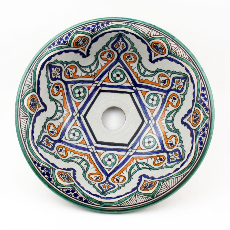 orientalisches handbemaltes keramik waschbecken fes35 bei ihrem orient shop casa moro. Black Bedroom Furniture Sets. Home Design Ideas