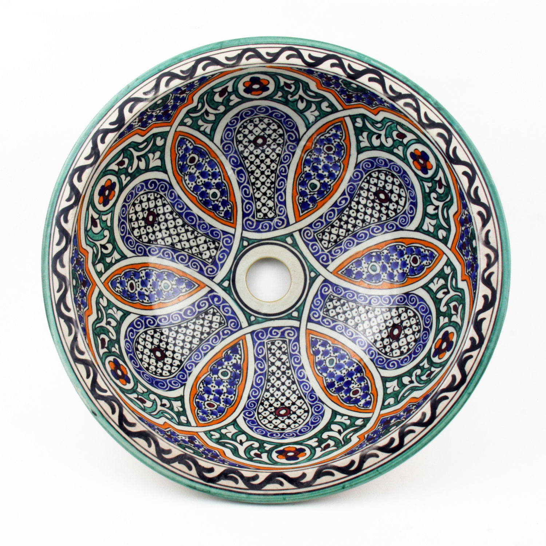 orientalisches handbemaltes keramik waschbecken fes43 bei ihrem orient shop casa moro. Black Bedroom Furniture Sets. Home Design Ideas