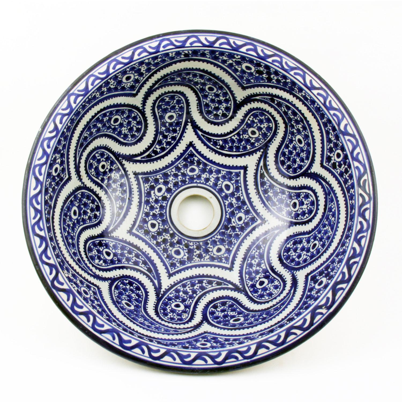 orientalisches handbemaltes keramik waschbecken fes45 bei ihrem orient shop casa moro. Black Bedroom Furniture Sets. Home Design Ideas