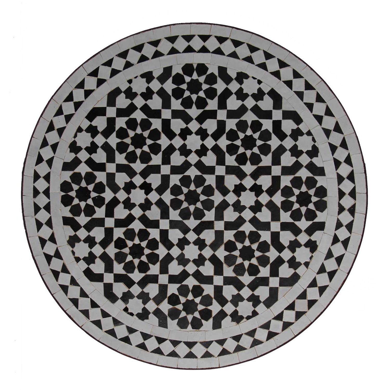 mosaik bistrotisch 70 rund schwarz weiss glasiert bei ihrem orient shop casa moro. Black Bedroom Furniture Sets. Home Design Ideas