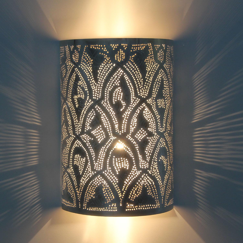 Marokkanische silber wandlampe yusra bei ihrem orient for Marokkanische wandlampe