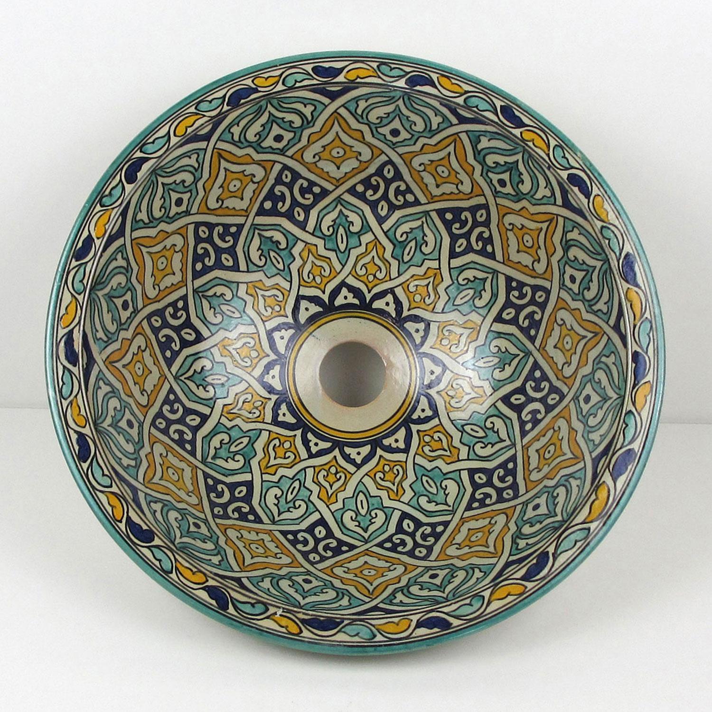 Orientalisches Handbemaltes Keramik Waschbecken Fes61