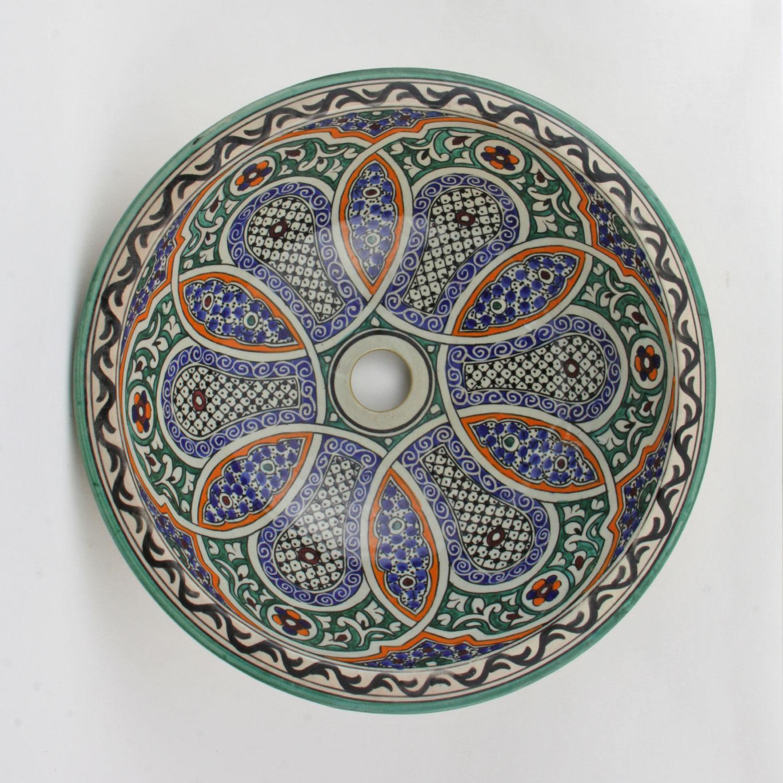 Orientalisches Handbemaltes Keramik Waschbecken Fes65