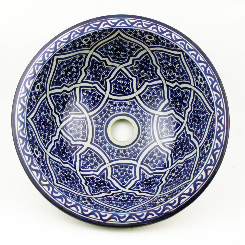 orientalisches handbemaltes keramik waschbecken fes40 bei ihrem orient shop casa moro. Black Bedroom Furniture Sets. Home Design Ideas