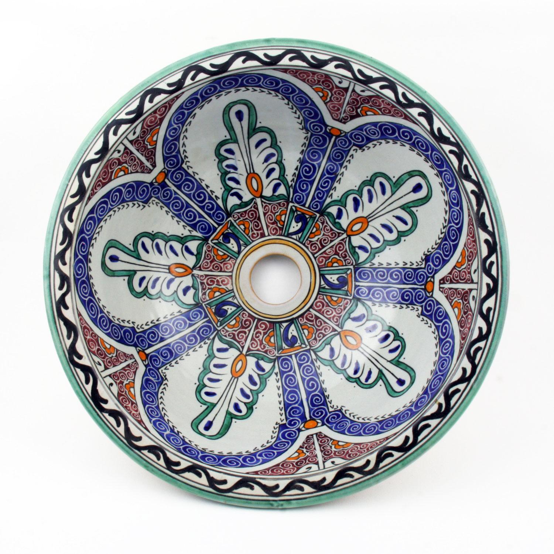 Orientalisches Handbemaltes Keramik Waschbecken Fes41